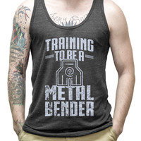 Training To Be A Metal Bender (silver) on a Tri Black Unisex Tank Top