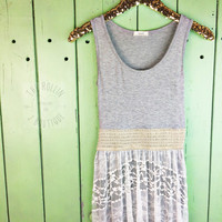 Layered Lace Maxi GREY AND WHITE