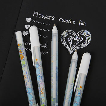 1pcs White Ink Color Photo Album 0.8MM Gel Pen Cute Unisex Pen Gift For Kids Stationery Office Learning School Supplies