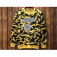Bape 2018 new reflective camouflage printed round neck pullover sweater F-A-KSFZ yellow