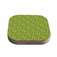 """Laura Nicholson """"Leafy Lozenges"""" Green Abstract Coasters (Set of 4)"""