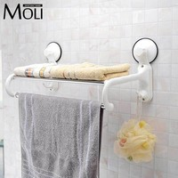 Suction towel holder plastic towel rack with bar and hooks wall suction cup towel shelf bathroom accessories