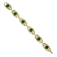 Downton Abbey Jewellery Collection Gold Tone Edwardian Filigree Link Bracelet with Emerald Crystals