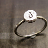 Personalized Custom Initial Number Ring Handmade Rustic Artisan Sterling Silver