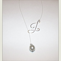 Pearl Drop Initial Necklace