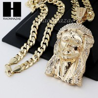HIP HOP JESUS FACE PENDANT & DIAMOND CUT CUBAN LINK CHAIN NECKLACE N33