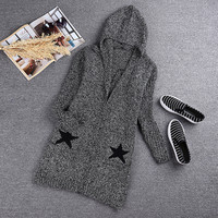 Long Sleeves Star Heart Peace Pattern Knitted Hooded Sweater