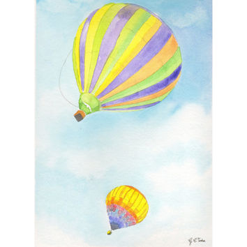 Original watercolor Painting - Hot Air Balloons in the clouds