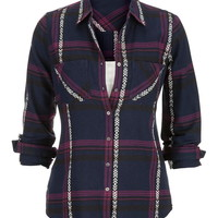 Embroidered Plaid Button Down Shirt - Blue Jasmine Combo