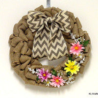 Burlap Wreath- Chevron Burlap- Spring Wreath- SummerWreath- Big Bow- Chevron Bow- Home Decor- Door Decor
