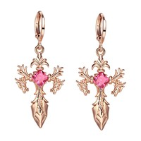 Magical Dragon Sword Style Viking Cross Protection Amulets Gold-Tone Royal Pink Crystals Earrings