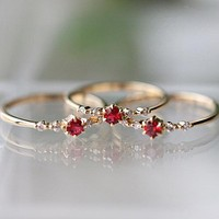 Fashion hit new gold ruby engagement ring birthday present
