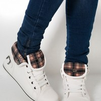 Kansas White Check Buckle Hi Top Trainers | Pink Boutique
