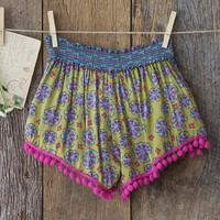 Small/Medium  Lime  Green  &  Pink  Indie  Print  Lounge  Shorts  From  Natural  Life
