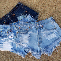 Levi's high waisted shorts distressed denim Hipster Grunge clothing