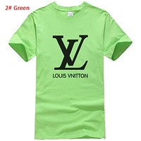 Louis Vuitton LV Summer New Fashion Letter Print Sports Leisure Women Men Top T-Shirt 2# Green