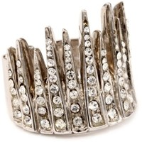 Giuseppe Zanotti Sterling Silver Finish and Swarovski Crystals Crown Ring, Size 6