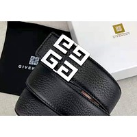 Givenchy new retro simple men and women smooth buckle belt silver