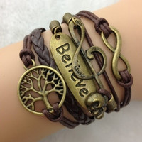 Fashion brown color infinity Antique copper Charm leather skull music believe Bracelet = 1932611076