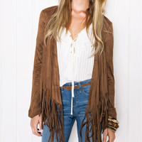 Fashion Tassel Long Sleeved Cardigan Jacket