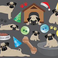 Pug Clip Art Bundle, dog toys/accessories, 21 images, digital collage sheet, house, bed, tennis balls, bowl, party hats, paw print, pugs