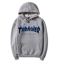 """Thrasher""Quality hooded sweater flame slide hip sweater Grey"