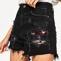 RIPPED SEQUINNED SHORTS DETAILS