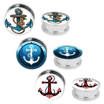 6PC Plugs Screw Fit Tunnels Nautical Anchor Kit Stainless Steel Plugs 2G-12mm