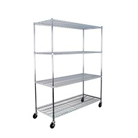 "SafeRacks NSF Certified Commercial Grade Adjustable 4-Tier Steel Wire Shelving Rack with 4"" Wheels - 24"" x 60"" x 72"" (24""x60""x72"" 4-Tier) 24""x60""x72"" 4-Tier"