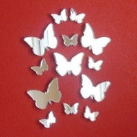 """Butterfly Big Wings Mirrors 4cm X 3cm (10 in Pack) 1.5"""" x 1.2"""""""