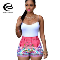 African Fashion 2017 Sexy Women Straps Patterned Print Playsuit Casual Vintage Short Rompers Womens Jumpsuit Plus Size S-XL