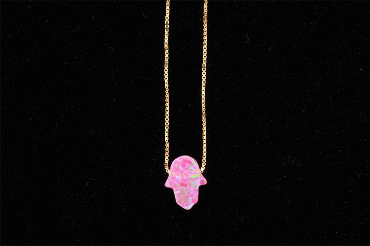 Image of Lucky Pink Opal Hamsa Hand Gold Necklace