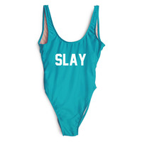 SLAY Letter Print High Cut Swimsuit One-piece Funny Swimwear Monokini Bathing Suit Women Trikini trajes de bano women 2016
