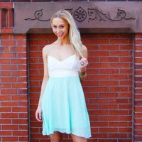Forever Young Dress - Mint Strapless Sweetheart Chiffon Dress with Lace Top | Wildtwee