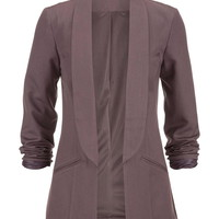 Open Front Blazer - Purple