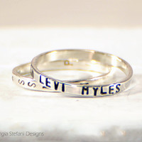 Womens Engraved Band. Personalized 2mm Sterling Silver Stacking Ring. Children Names Rings. Sisters Rings. New Mother Ring. Secret Message.