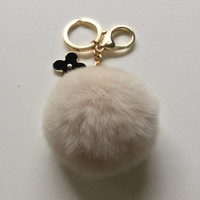 Cream fur pom pom keychain REX Rabbit fur pom pom ball with flower bag charm