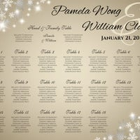 DIY Printable Wedding Seating Chart | PDF file | Winter White Silver Snowflakes Champagne Gold - EMAIL Delivery