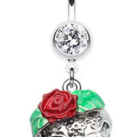 Rose Ornate Sugar Skull Belly Button Ring