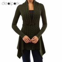 2017 Women Knitted Cardigan Solid Open Front PU Button Irregular Hem Long Sleeves Casual Outerwear Coat Sweter Mujer
