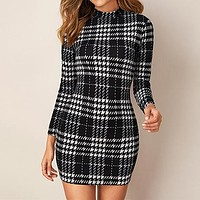 Black And White Plaid Stand Collar Elegant Bodycon Dress Women Long Sleeve Office Ladies Skinny Mini Dresses