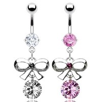"""{Clear} 316L Steel Prong Navel Belly Button Ring w/ Bow Tie and CZ Dangle - 14 GA 3/8"""" Long (Sold Ind.)"""