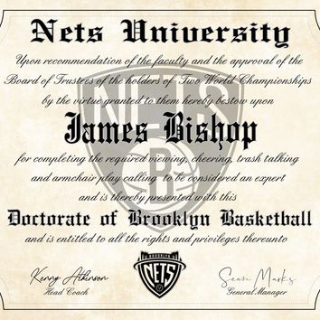 "Brooklyn Nets Ultimate Basketball Fan Personalized Diploma - 8.5"" x 11"" Parchment Paper"