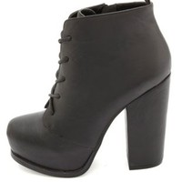 Chunky-Heeled Platform Lace-Up Booties by Charlotte Russe - Black