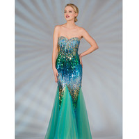 2013 Prom Dresses - Multicolor & Turquoise Strapless Sequin Mermaid Prom Dress - Unique Vintage - Cocktail, Pinup, Holiday & Prom Dresses.