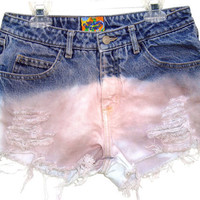 Denim Jean Shorts High Waisted Dip Dyed by shortyshorts on Etsy