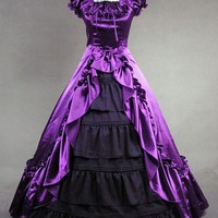Purple Satin Victorian Ball Gown