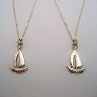 Boat Necklace Set Tiny Sailboat Necklace Boat Jewelry Choose Your Chain Nautical Necklace Nautical Jewelry Beach Jewelry Best Friends