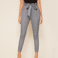 Grey Plaid Paperbag Waist Self Belted Casual Pants Women Bottoms High Waist Office Ladies Skinny Trousers