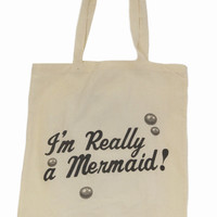 I'M REALLY A MERMAID TOTE BAG at Wildfox Couture in  - CREAM